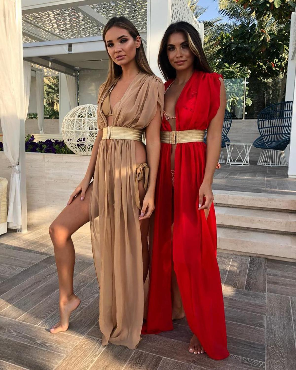 2019 Women Sexy Deep V-Neck Long Beach Covers Up With Belts Split Beach Dress