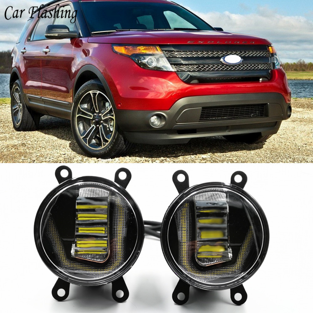 3 IN 1 Functions LED DRL Daytime Running Light Car Projector Fog Lamp with yellow signal