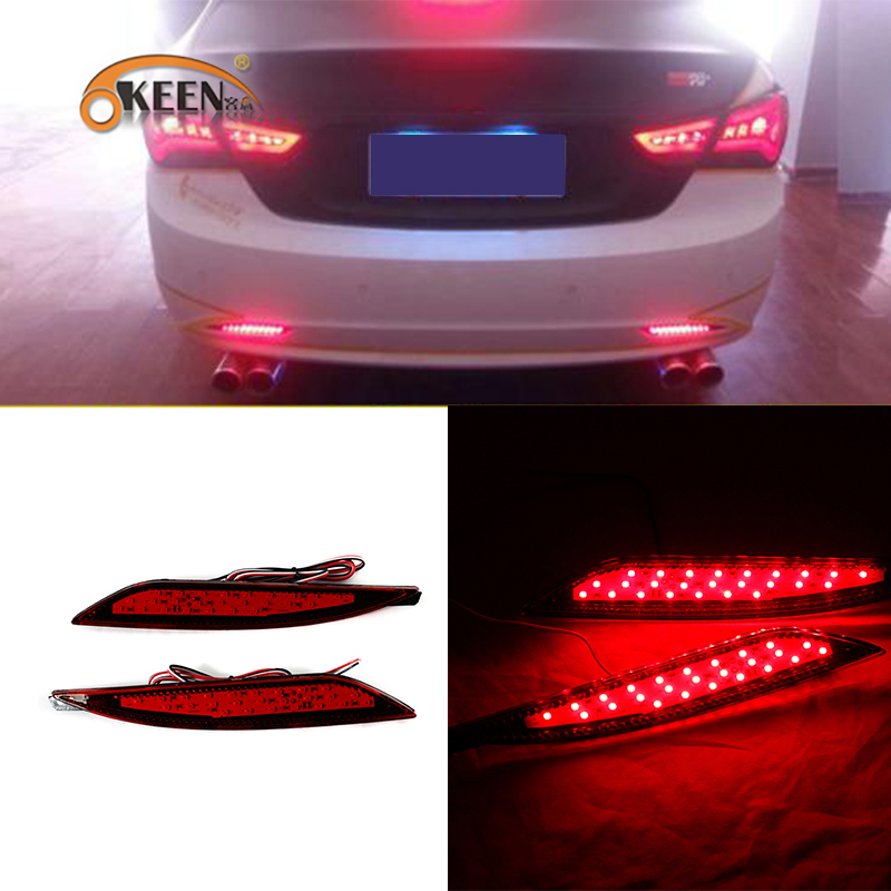 OKEEN 2pcs Car Rear Bumper Reflector Lights For Hyundai Sonata 2011 2012 2013 2014 Car LED Daytime Running Lights Brake Fog Lamp okeen 2pcs high quality led drl for ford raptor f150 2010 2011 2012 2013 2014 daytime running lights with turn signal lamp 12v