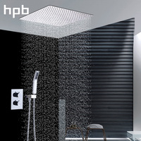 HPB Luxury 12 Inch Square Rainfall Shower Head Shower System Bath Thermostatic Faucets Wall Mounted Chrome