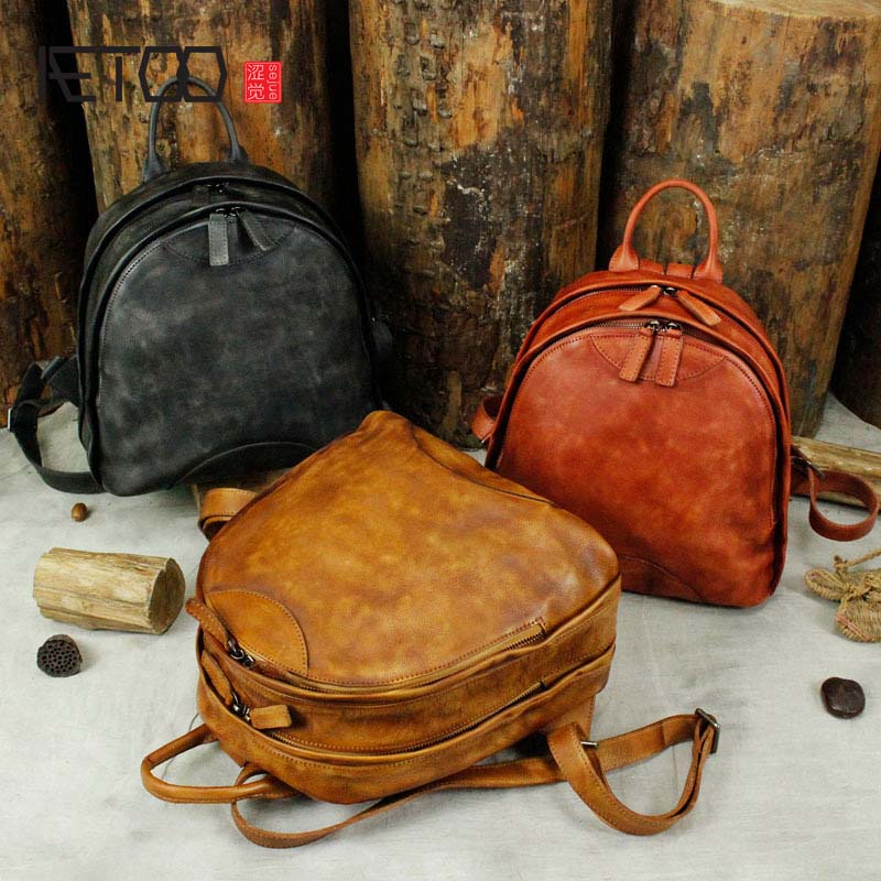 AETOO Women's new mini leather backpack new 2018 Korean female real leather mini backpack wild retro handmade bag women недорого