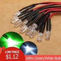 10 piezas 12V LED luz bombilla 10 x de cable 5mm brillante Lámpara de diodo 20 cm/7.8in prewired