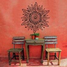 Mandala Flower Wall Decal Mehndi Pattern Mandala Vinyl Applique Sticker Bohemian Bedroom Indian Jewelry Decoration MTL14