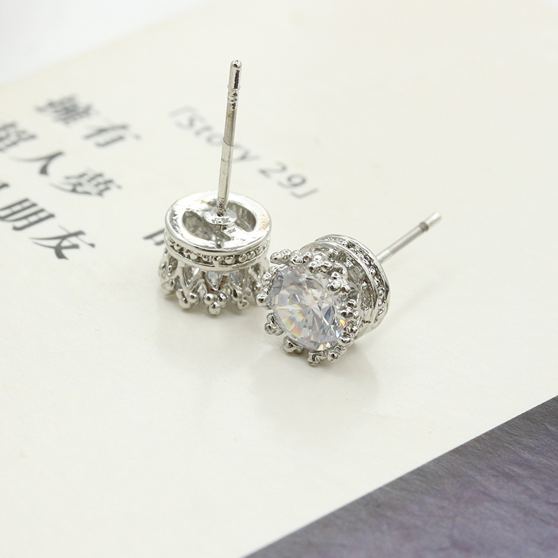 925 Sterling Sliver Fashion Jewelry Round 2 Carat Cubic Zirconia Silver Stud Earrings for Women