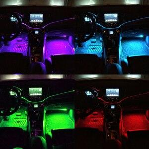 Image 5 - Led車周囲ライト & 3ミリメートル9メートルケーブルled車光ファイバライトミュージックコントロールアプリ自動インテリア装飾雰囲気ライト