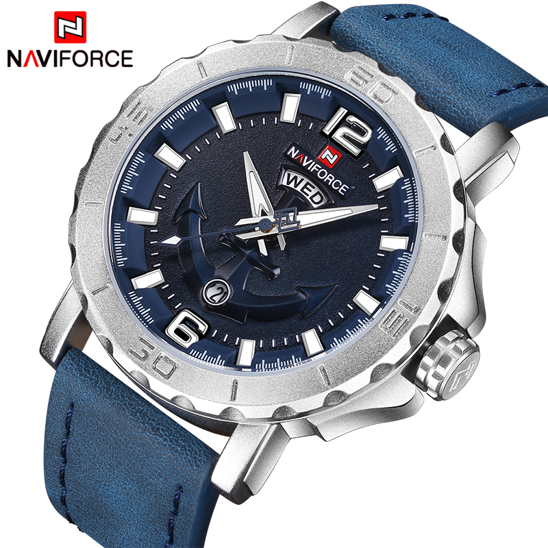2018 New Top Luxury Brand Naviforce Leather Strap Sports Watches Men Quartz Clock Sports Military Wrist Watch Relogio masculino