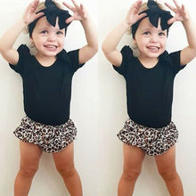 Cute Toddler Baby Girls Flying Sleeve Tops Leopard Shorts Ball Briefs Outfits