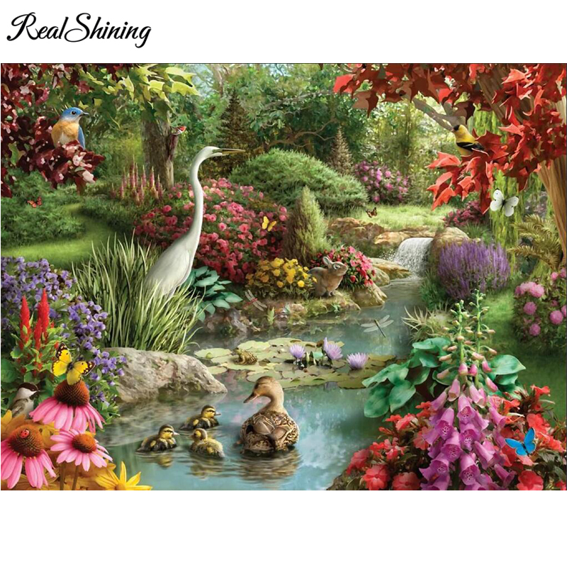 5D diy Diamond Embroidery Forest garden flamingo ducks Diamond Painting Full Square Round Drill cross stitch arts crafts FS3910 in Diamond Painting Cross Stitch from Home Garden