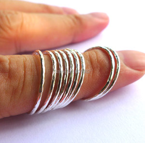 Image 5 - Lotsale 9pieces Solid 925 Sterling Silver Hammered Stacking Ring For Women