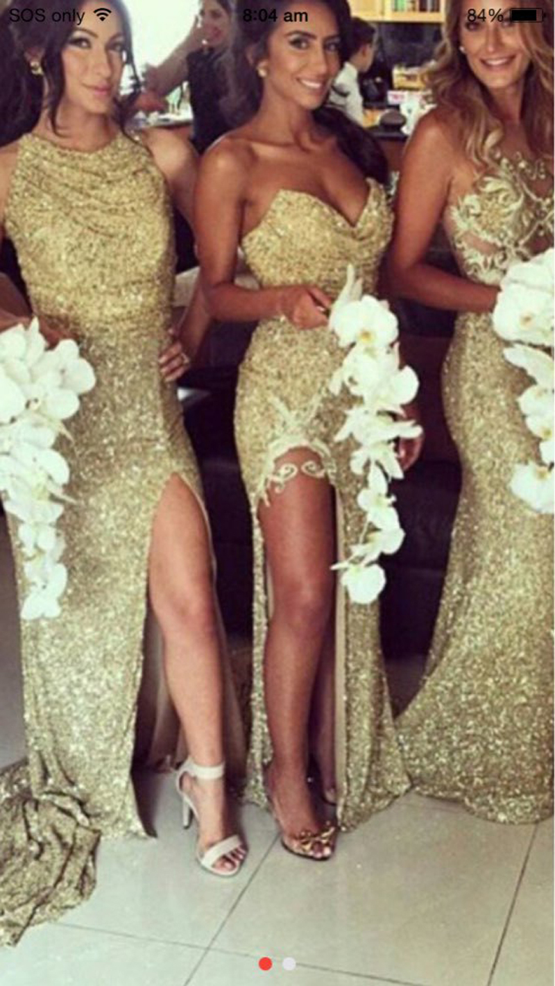 New chic sexy gold sequined lace high side slit bridesmaid dresses new chic sexy gold sequined lace high side slit bridesmaid dresses long vestido de noche maid of honor gown in bridesmaid dresses from weddings events on ombrellifo Gallery