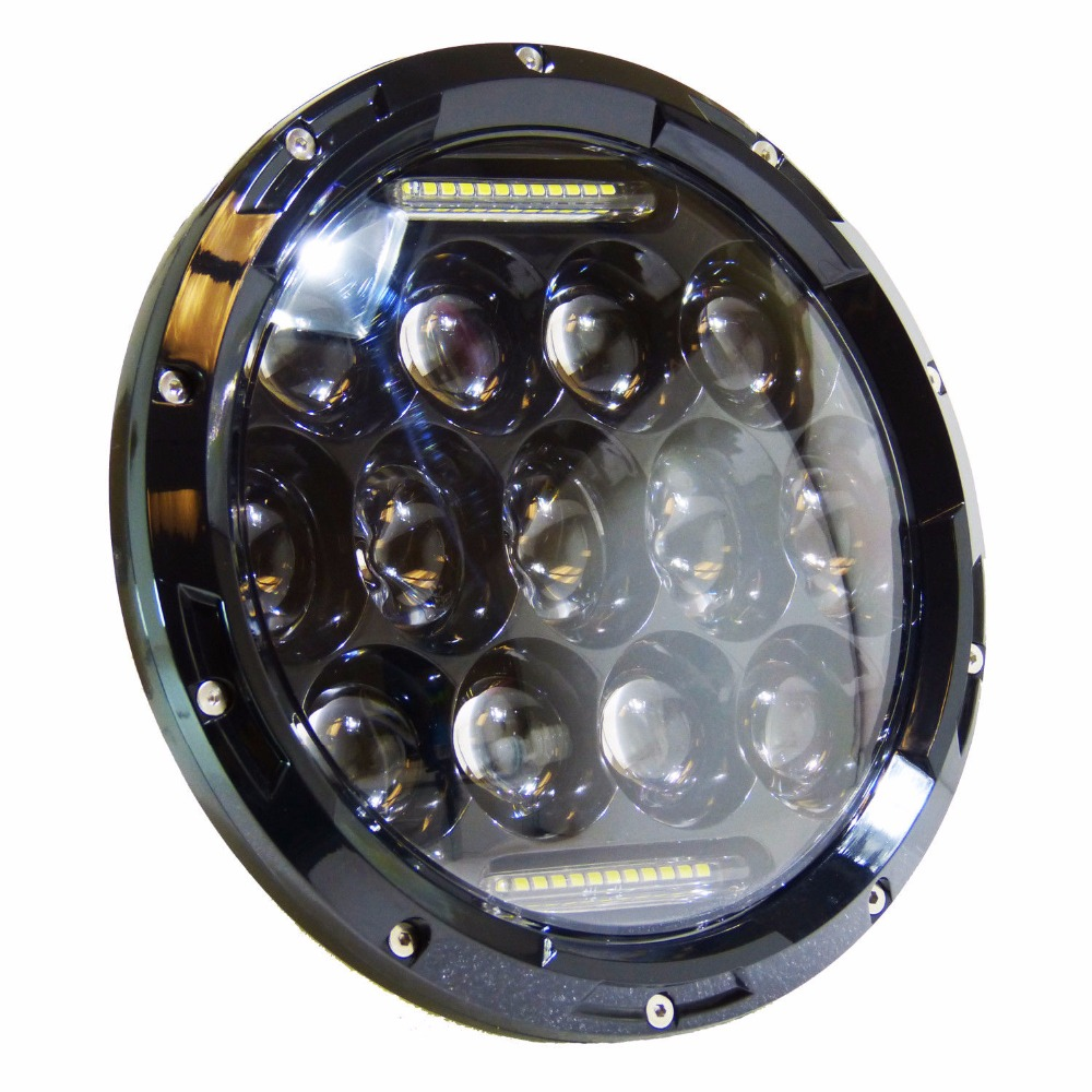"""1x 7/"""" Round 75W LED Headlight Replacement with DRL High//Low Beam Black Housing"""