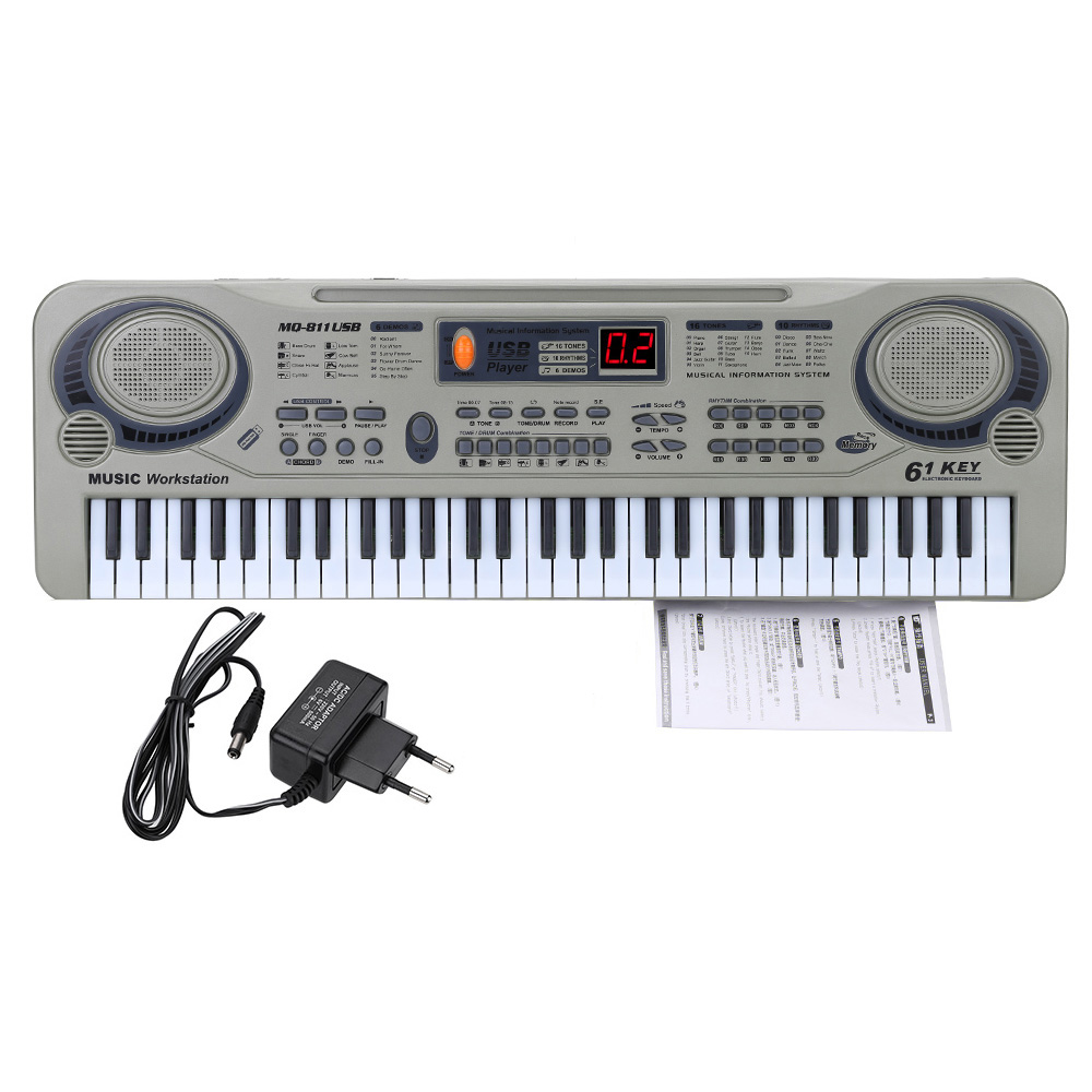Children 21 Beginner Electric Piano Electone LED 61 Keys Keyboard USB MP3 With Microphone Education Toy For Kid Gift