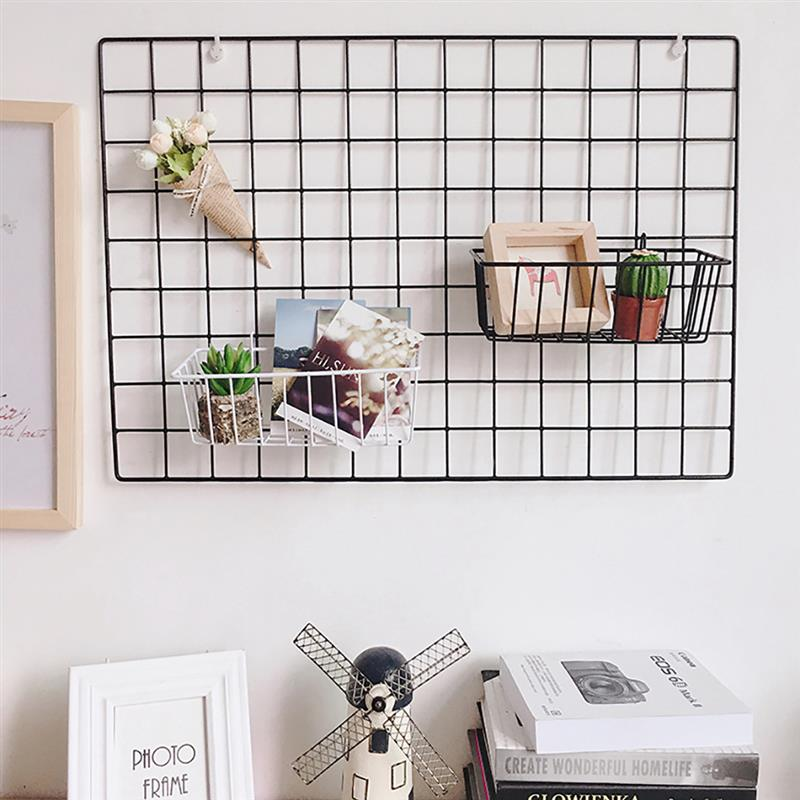 Simple Solid Color Iron Square Grid Photo Wall DIY Creative Decorative Photo Hanging Display Metal Mesh Panel Photography Props