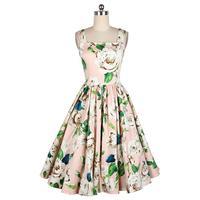 2016 Women Summer 50s Vintage Dress Retro 50s 60 Vest Swing Square Colloar Camellias Printed Rockabilly Dress Vestido de Festa W