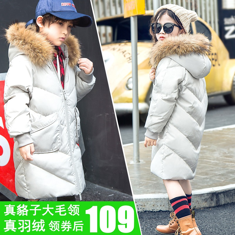 The new winter baby children's wear thickening in the long section of real fur collar jacket boy girl child coat princess sweet lolita parkas in the winter of new women s original japanese sweet fox fur collar long sleeved coat c22cd7219