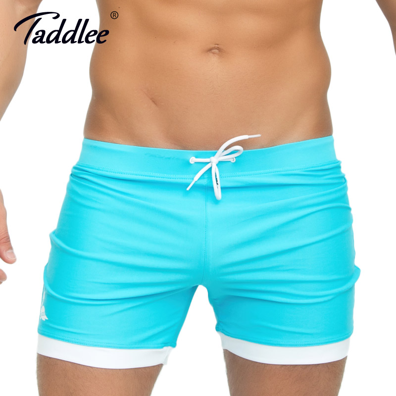 b6439de159dfc Taddlee Brand Men s Swimwear Swimsuits Swim Boxer Trunks Long Solid Color  Blue Board Surf Shorts Big