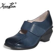 Xiangban genuine leather women shoes round head handmade blue vintage high heel pumps elegant
