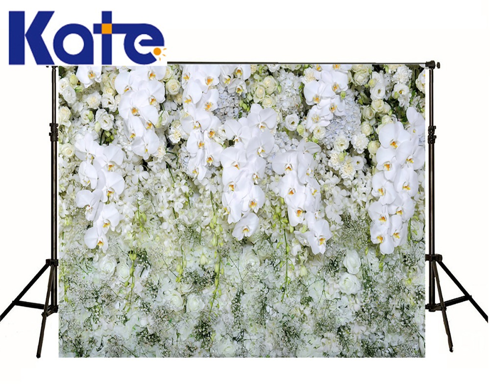 Kate Digital Printing Flowers Backdrops For Wedding Foto Background White Flowers Wall Photography Studio Backdrop