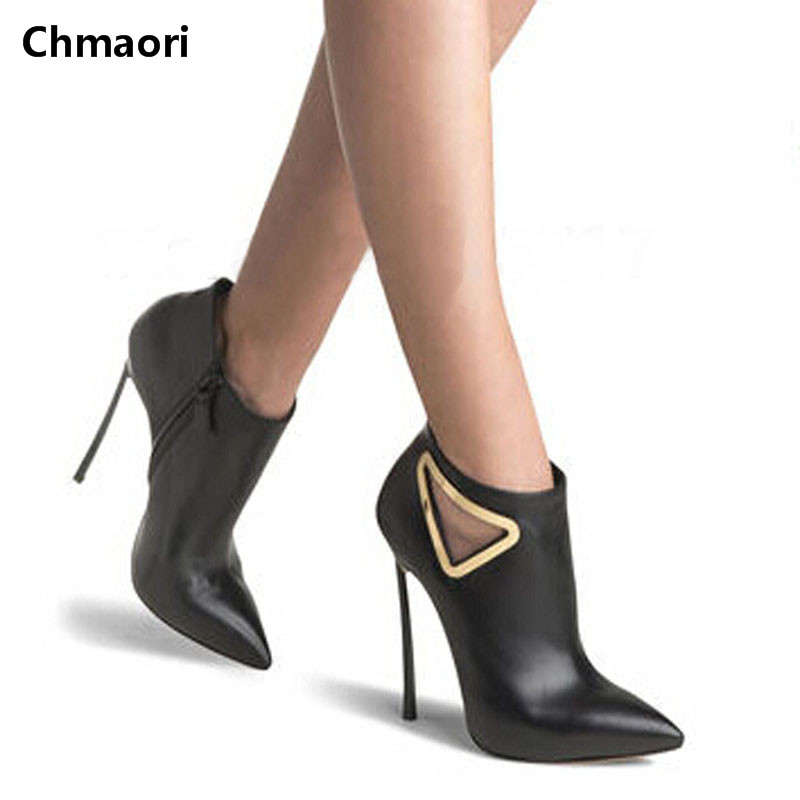 Concise Style Spring Autumn Ankle Boots Metal Triangle Design Zipper Pointed Toe High Heels Black Leather Woman Party Shoes