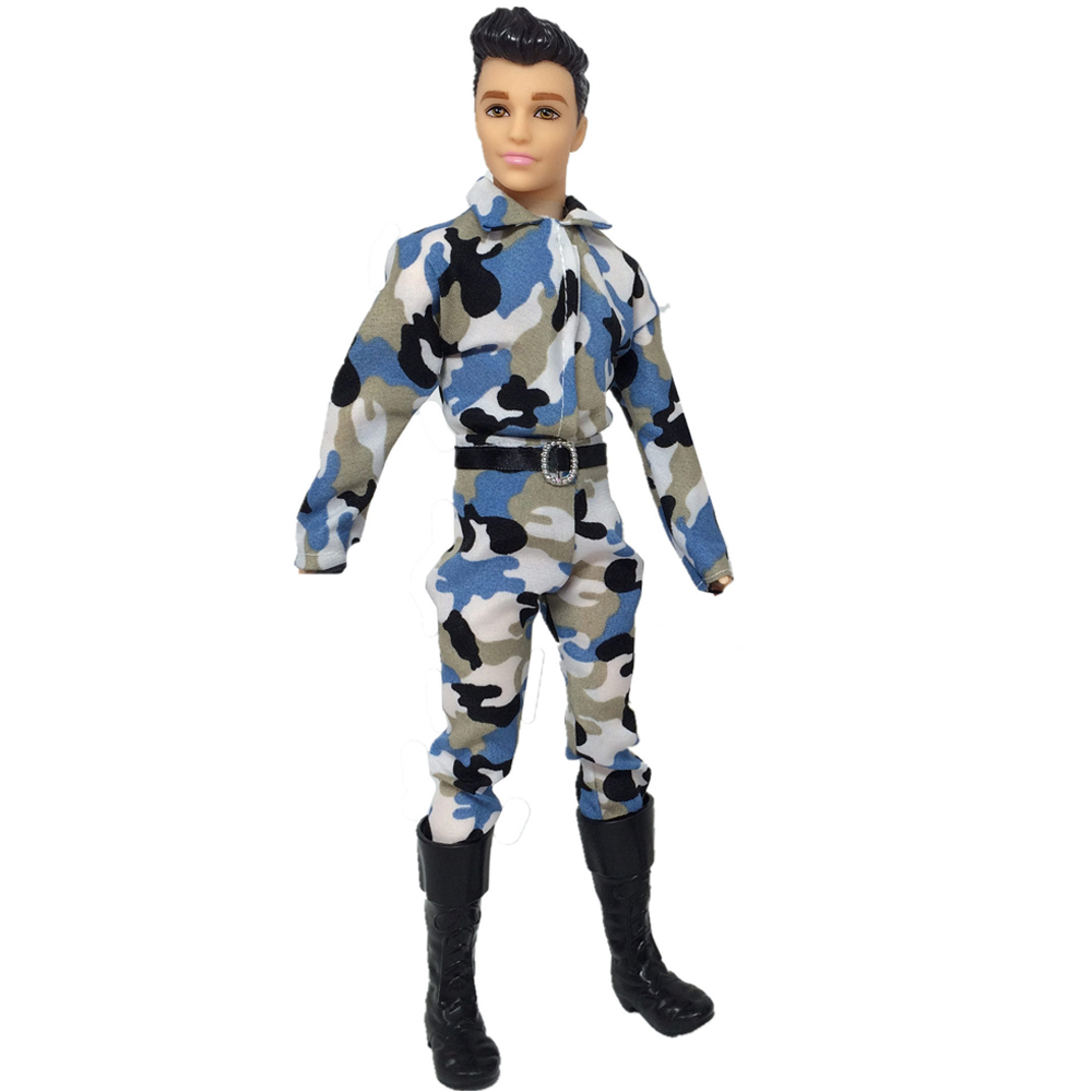 NK 2020 One Set Prince Ken Doll's Clothes Fashion Outfit Cool Cosplay Soldier  Wear  For Barbie Boy KEN Doll Children's Gift 03A