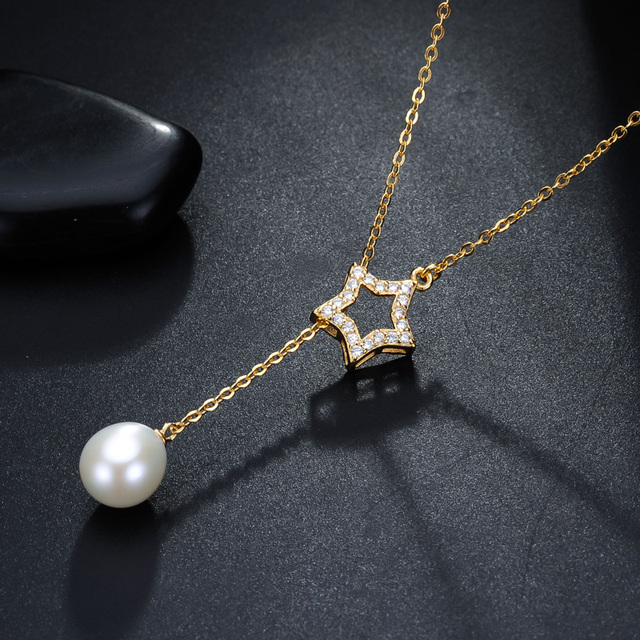 Natural Real Jewelry White Long Sweater Wedding Gift 925 sterling silver Pendant necklace for women Jewelry Accessories