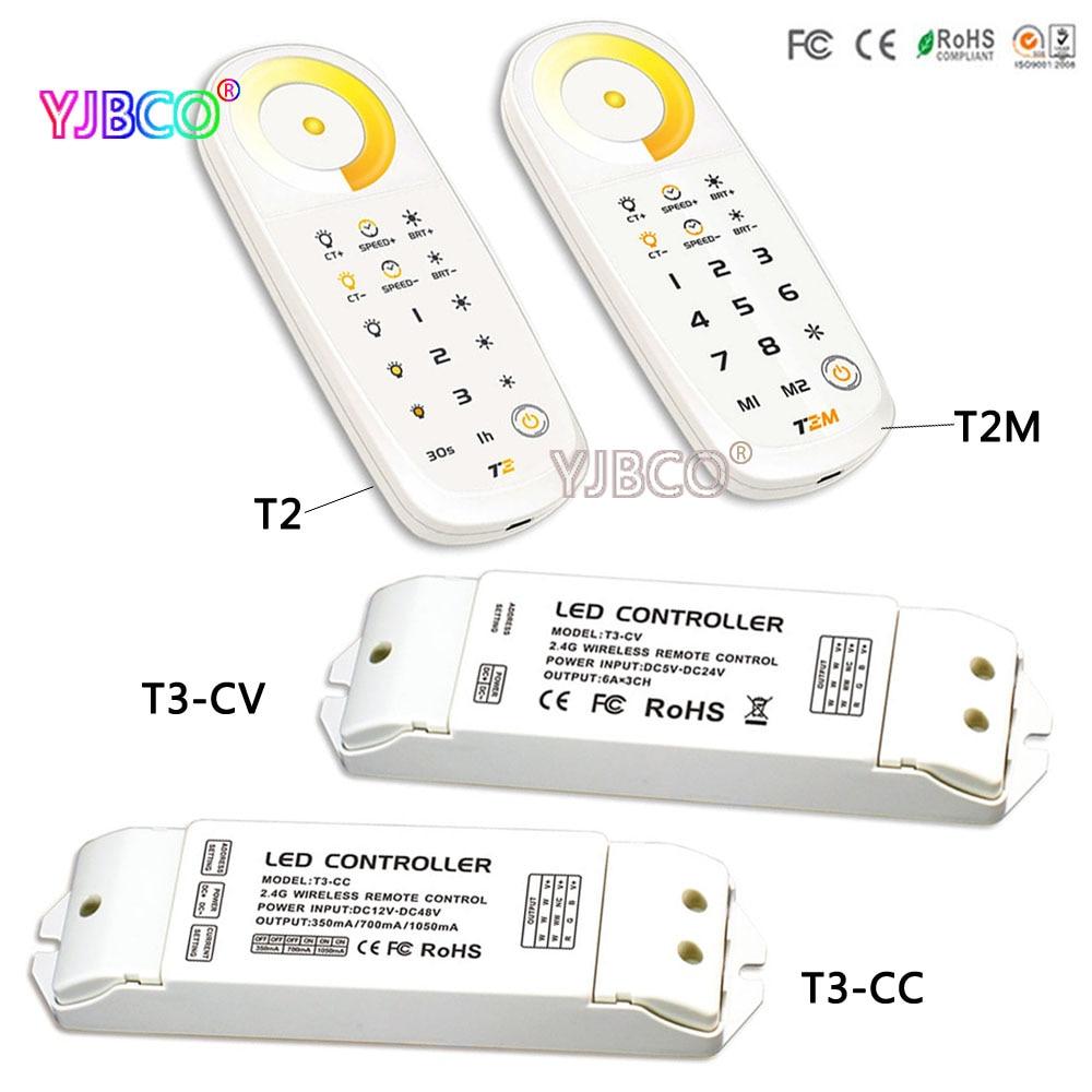 2.4G wriess T2/T2M Color temperature touch remote;T3-CC/T3-CV receiver controller DC5V for led strip led panel light стоимость