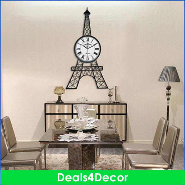 unique modern large 90cm height eiffel tower wall clock for living room big metal black wall. Black Bedroom Furniture Sets. Home Design Ideas