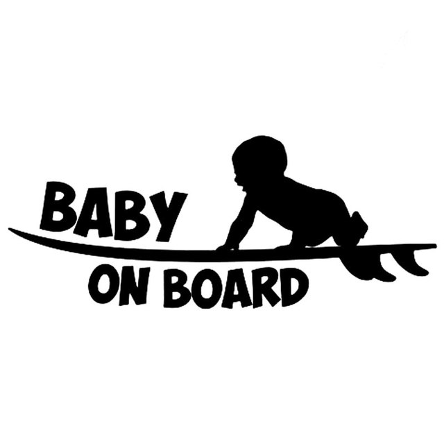 18 8cm7 6cm baby on board funny vinyl sticker cute surfboard surfer car sticker