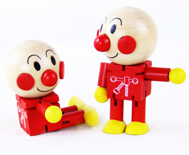Free shipping 2pcs creative cute Soreike Anpanman wooden small joint font b doll b font children