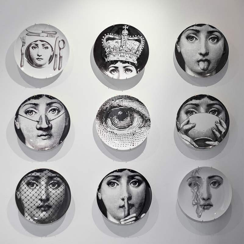 2018 New High Quality Bone China Milan Abstract Design Style Room Decoration Hanging Dishes Wall Plates Piero Fornasetti Plates