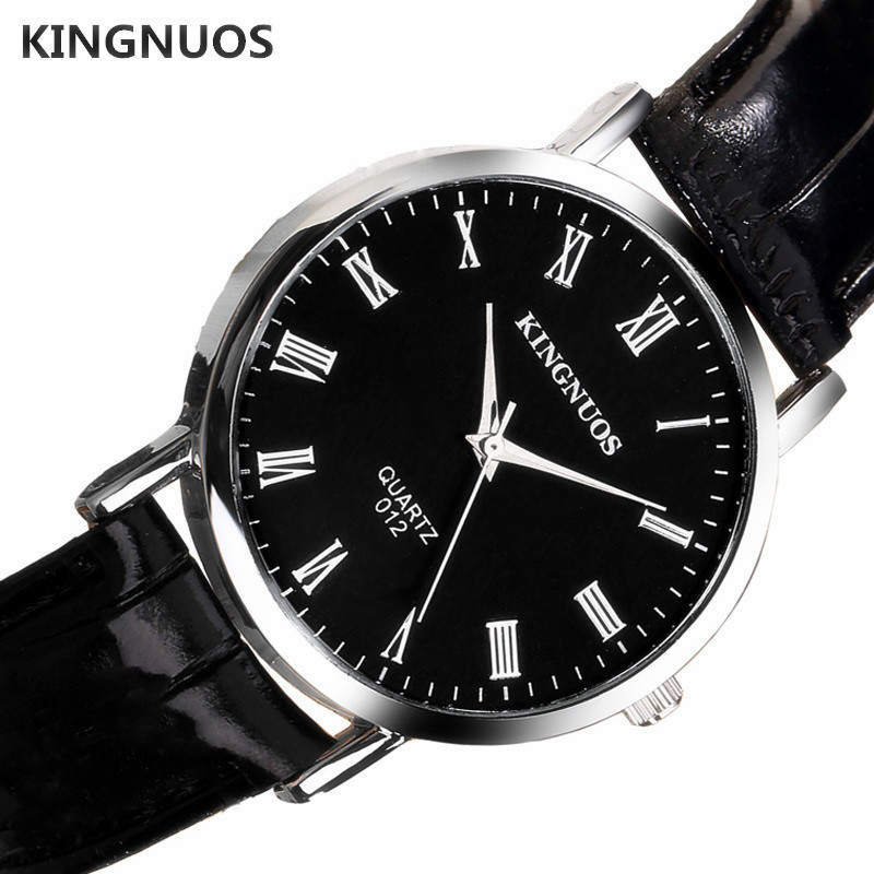 Luxury Brand Watch Men Wristwatches Watchband Black Brown Blue Leather Man Watches KINGNUOS Rome Male Quartz Clock Man Relogio цена 2017