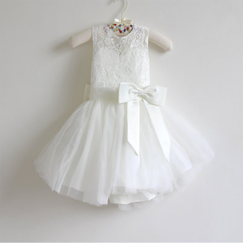 Ivory Flower Girl Dress Baby Girls Dress Lace Tulle Flower Girl Dress With Bows Sleeveless Knee-length Mother Daughter Dresses tulle trim layered knee length tee dress