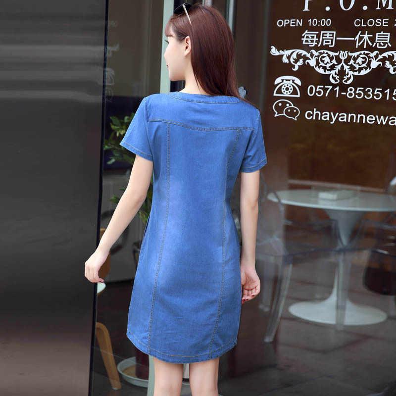 2018 летнее джинсовое платье женское Винтажное с коротким рукавом плюс размер 3XL джинсовые платья свободные Мини Повседневные Платья Vestidos европейский стиль
