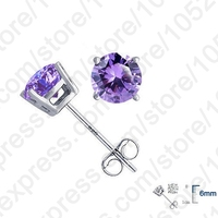 New High Quality Real 925 Sterling Silver   Fine   Jewelry Accessories Cubic Zirconia CZ 4 Claws Stud   Earrings   For Woman