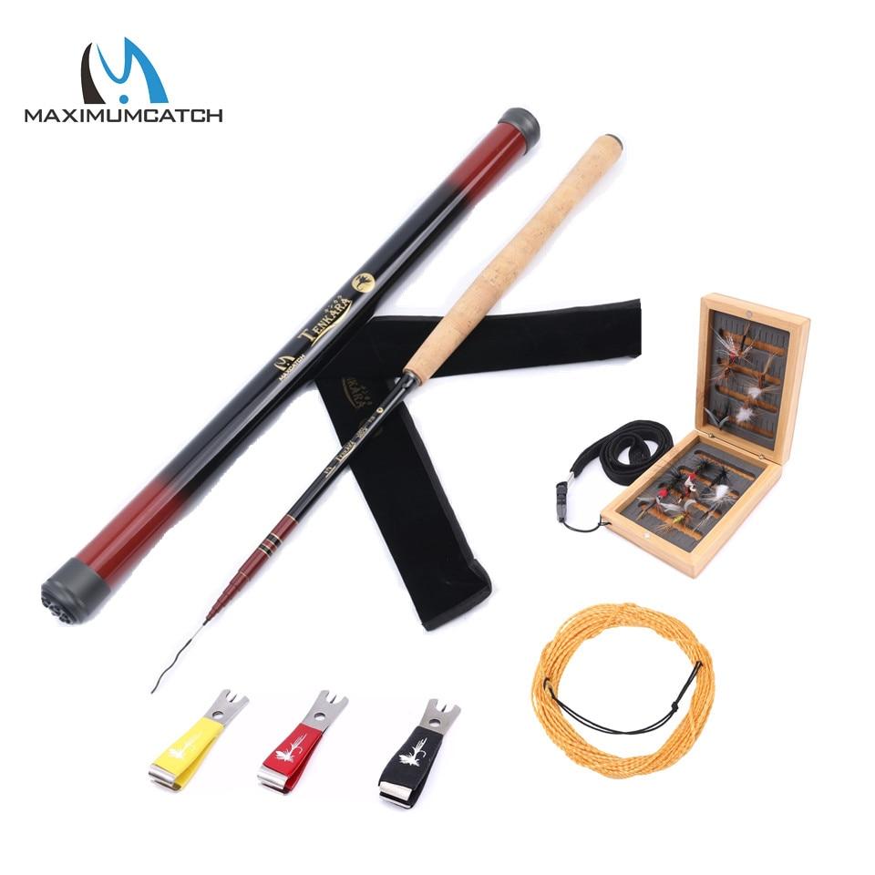 Maximumcatch 12FT/13FT Tenkara Rod Combo Graphite Fly Fishing Rod & Carbon Tube&Wooden Box&Flies ...