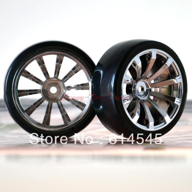 4PCS 1/10 RC Car On-Road Drift Wheel Rims & Tyre Tires Fit HSP HPI 605-5003 4pcs rubber rc racing tires car on road wheel rim fit for hsp hpi 1 10 high quality rc car part diameter 68mm tires