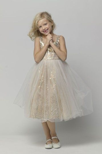 Sparkly Tulle Gold Sequins Flower Girl Dresses Scoop Neck