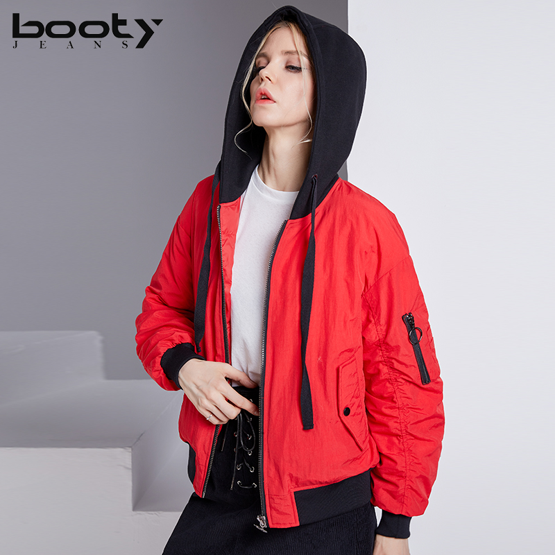 BOOTY JEANS 2017 Winter New Women's High Quality Hooded Front And Back Wear Casual Jacket Lady Baseball Clothing Down Jacket bow back hooded jacket