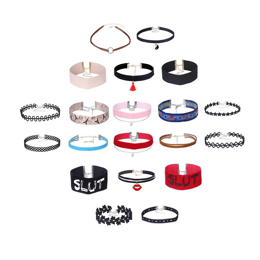 10-20 Pcs Chokers Sets Colored Ribbon Charms Choker Necklace Length Adjustable Personality Different Styles Special Chic RBR136