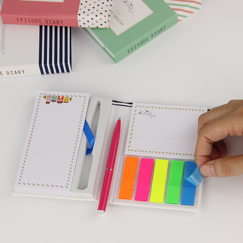 1 PC Creative Hardcover  Notepad Sticky Notes Kawaii Stationery Diary Notebook and Pen Office School Supplies 4