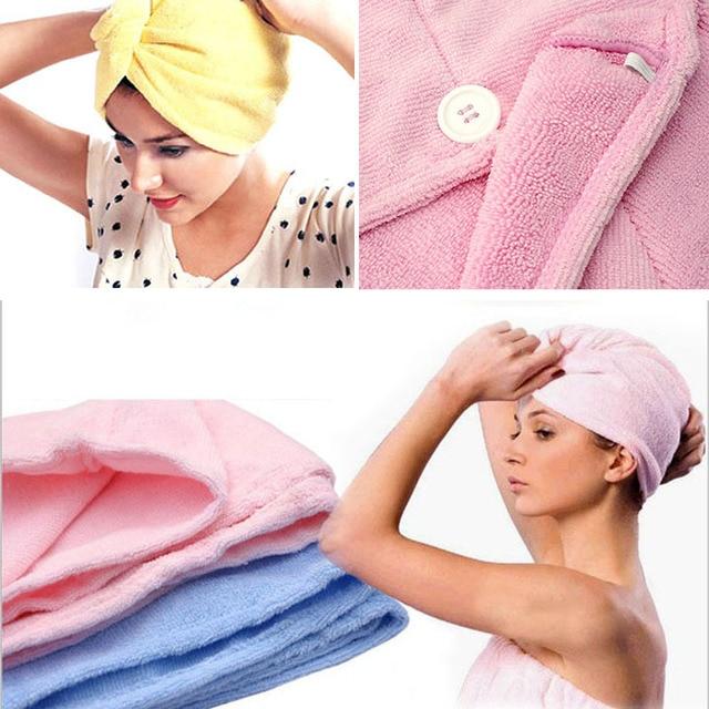 Signore confortevoli asciugatura dei capelli magia towel/hat/cap quick dry bath