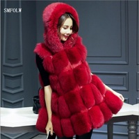SMFOLW M 6XL 2017 New High Quality High Imitation Silver Fox Fur Coat PU Sleeves Warm