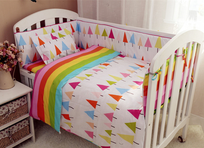 Promotion! 9PCS Full Set 100% cotton Baby bedding sets crib bedding set crib set 100% cotton,4bumper/sheet/pillow/duvet