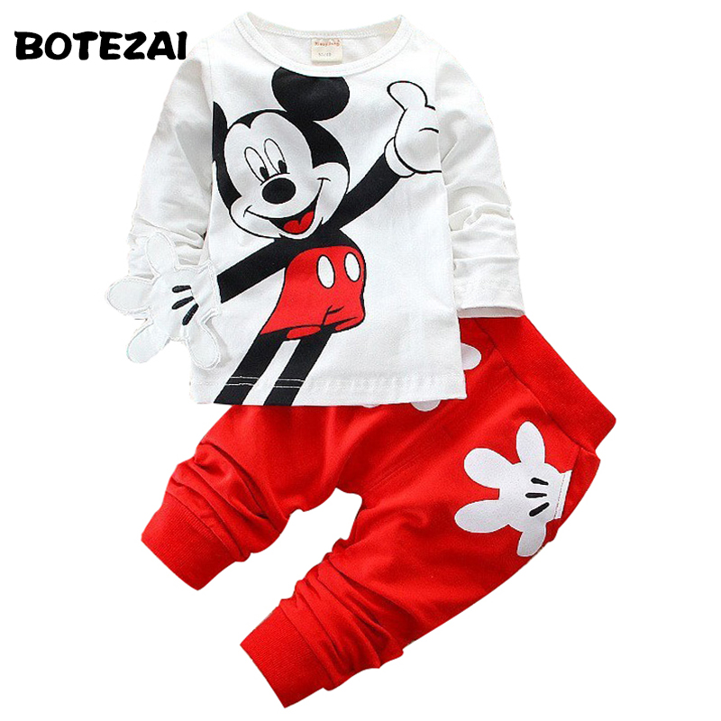 1pcs 2-5Yrs Boys&Girls Cotton Spring sport suit Kids Mickey Minnie Clothing set Kids fashion clothes baby boys&Girls cartoon set 2017 new boys clothing set camouflage 3 9t boy sports suits kids clothes suit cotton boys tracksuit teenage costume long sleeve