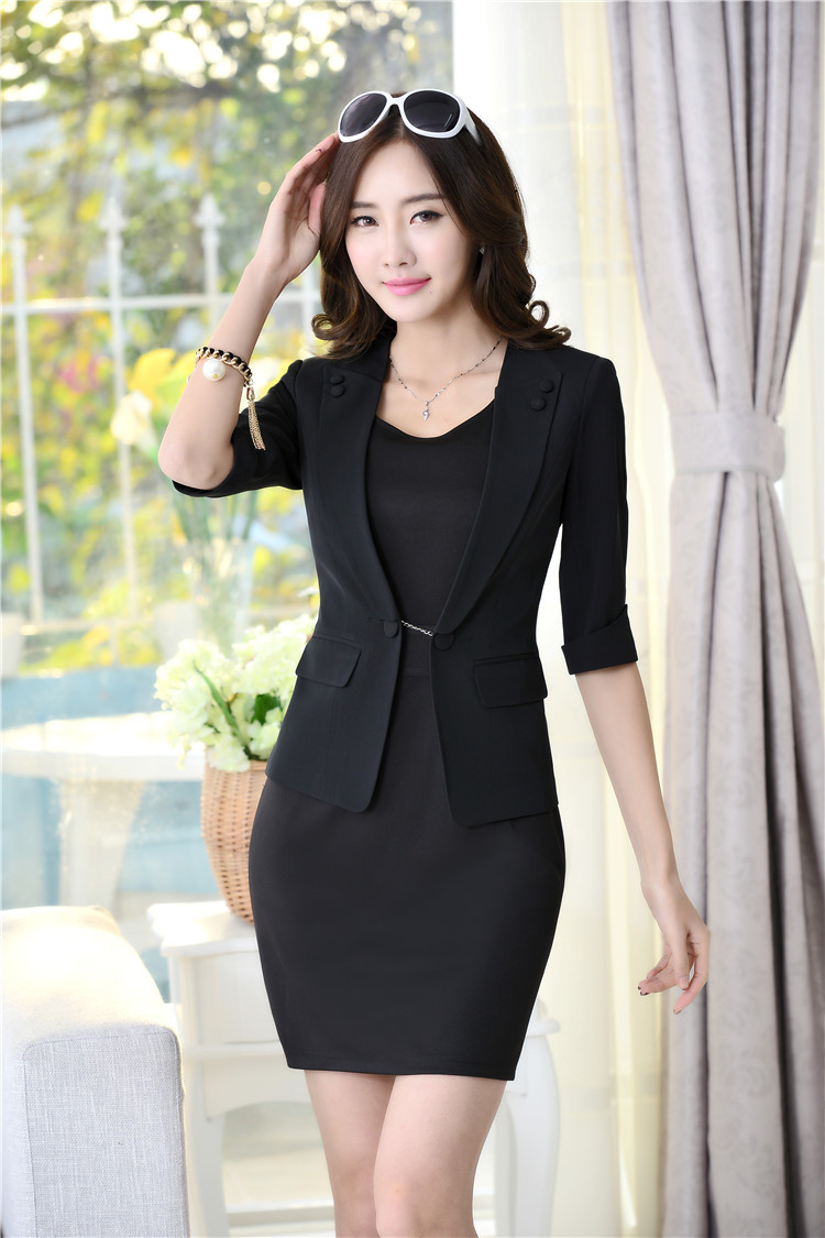 Spring Formal Female Black Blazer Women Dress Suits Jackets Sets