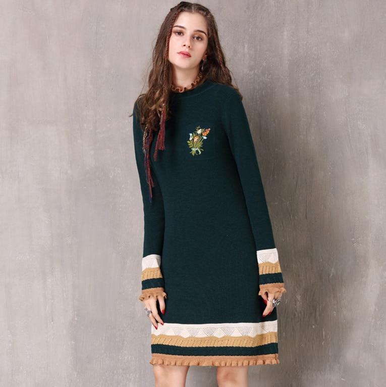 Robes tricotées SIPAIYA 2017 marque hiver fond coton laine pull robe Vestidos fleur broderie vert femmes robes
