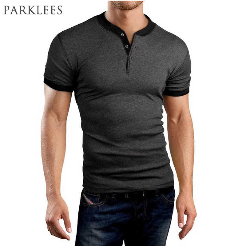 New Arrival Gray T shirt Men Tee Shirt Homme Summer Brand Slim Fit Short Sleeve Henley Shirt Casual Cotton V Neck Tshirt Homme