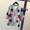 2016 New Fashion Stars Pattern Cardigan Women Casual Sweet Sweaters Knitted Long Sleeve Slim Women Long Sweater Cardigans B37