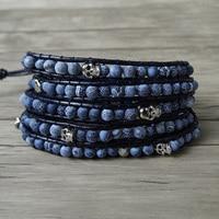 Blue matt finished beads bracelet skull wraps beads bracelet blue leather wrap skull bracelet men yoga bohemian dropshipping
