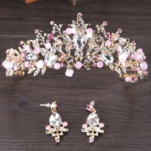 Luxury Wedding Hair Accessories For Bride Shiny Pink Crystal Floral Tiaras Crown With Earrings Princess Hair Jewelry Kits